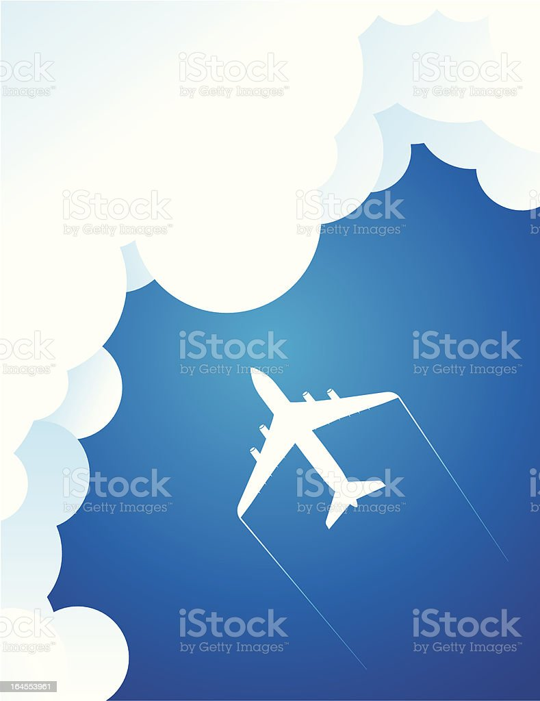 Airplane meet clouds royalty-free stock vector art