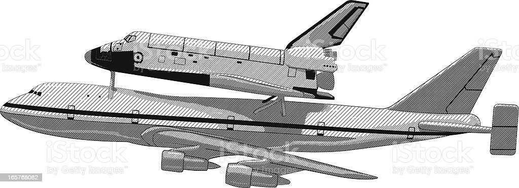 Airplane space shuttle combo vector art illustration