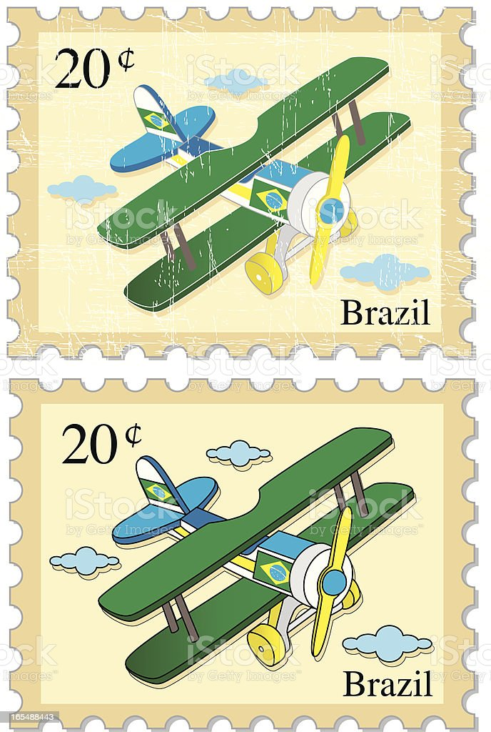 Airplane Stamps - BRAZIL royalty-free stock vector art