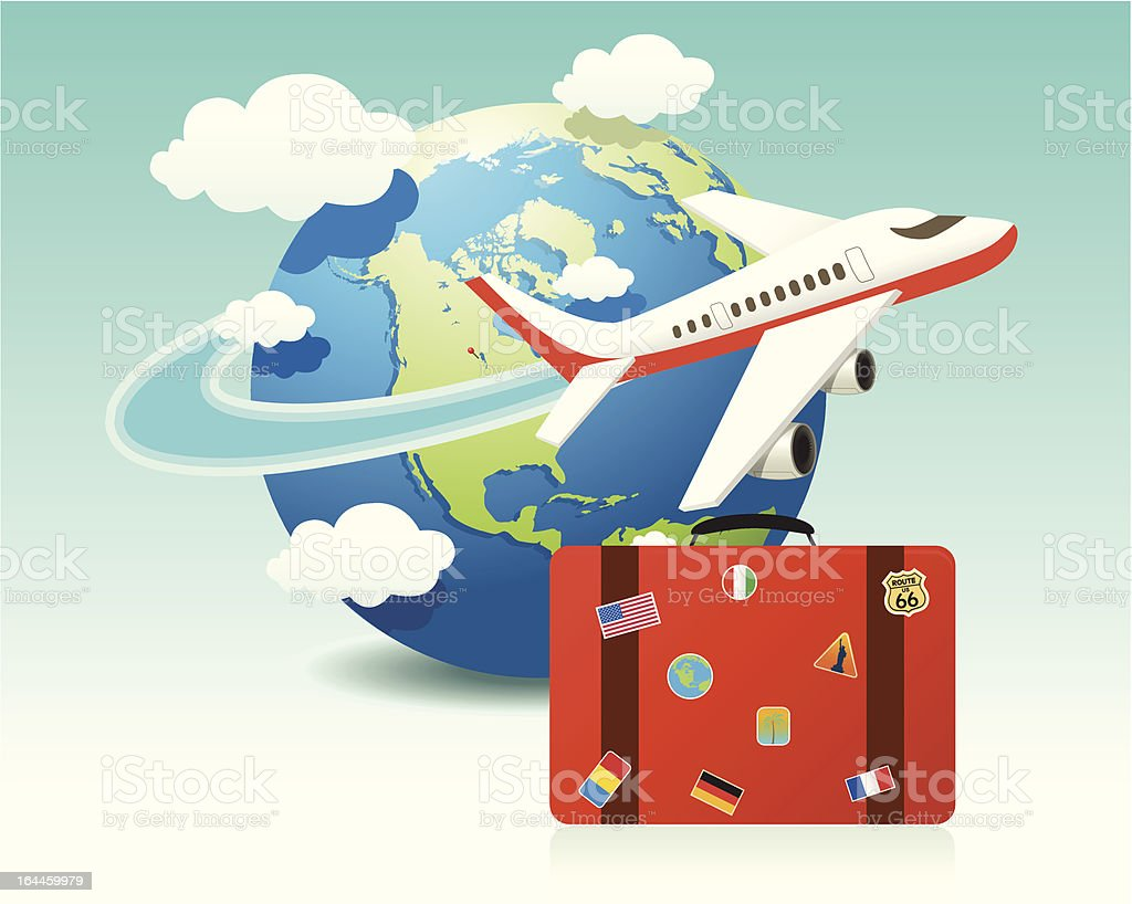 Airplane Travel with Luggage vector art illustration