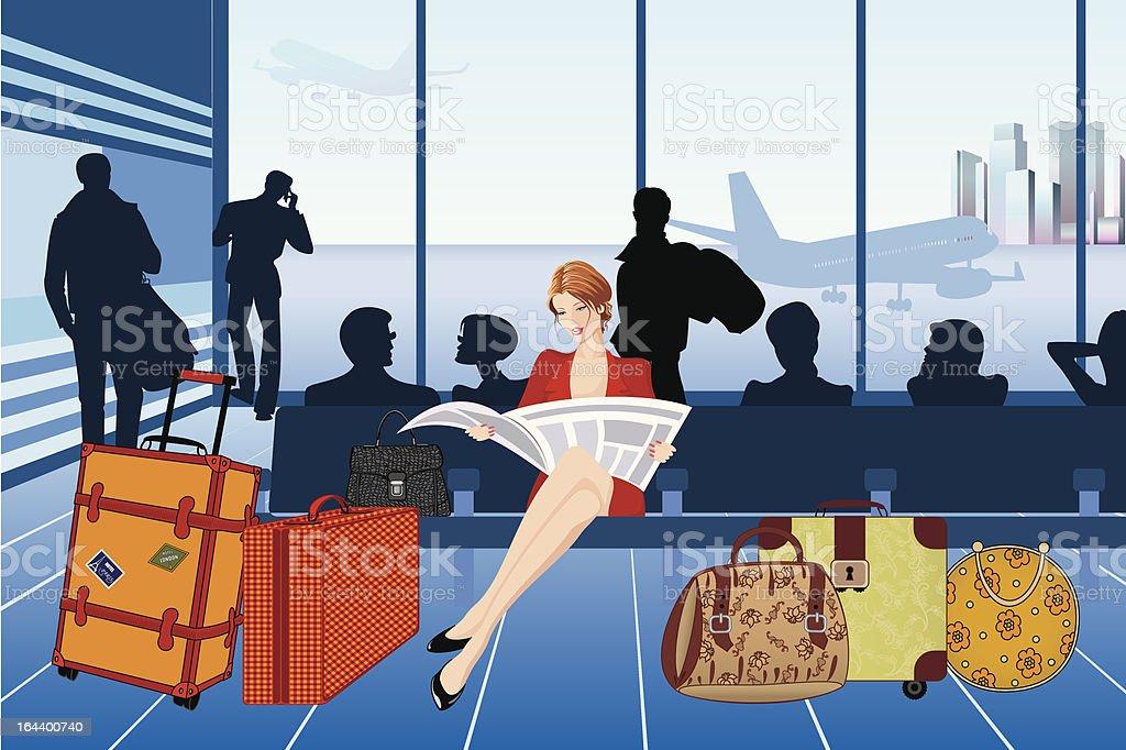 Airport vector art illustration