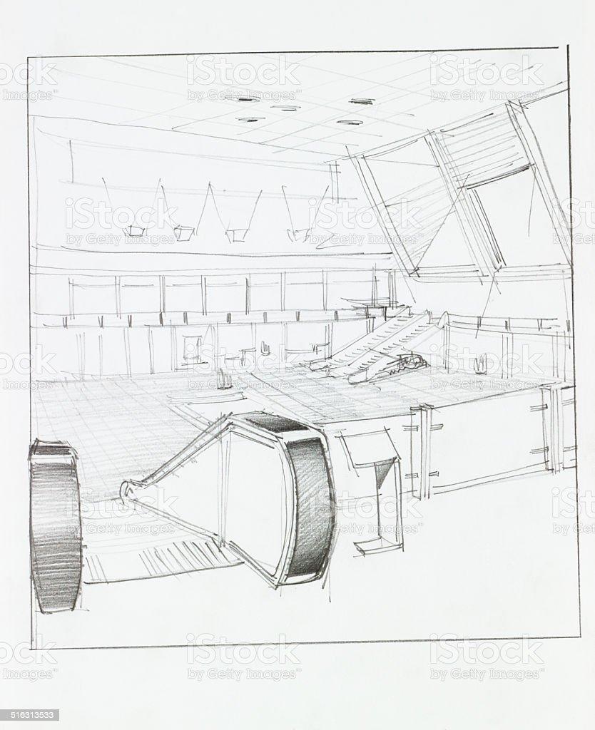airport interior vector art illustration