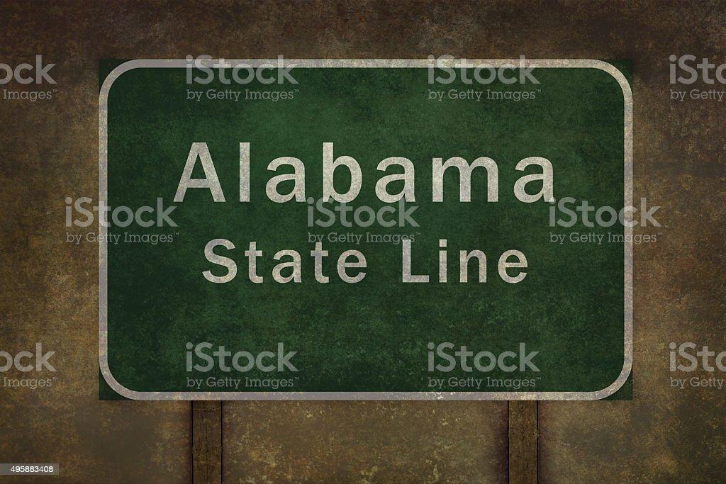 Alabama state line roadside sign illustration vector art illustration