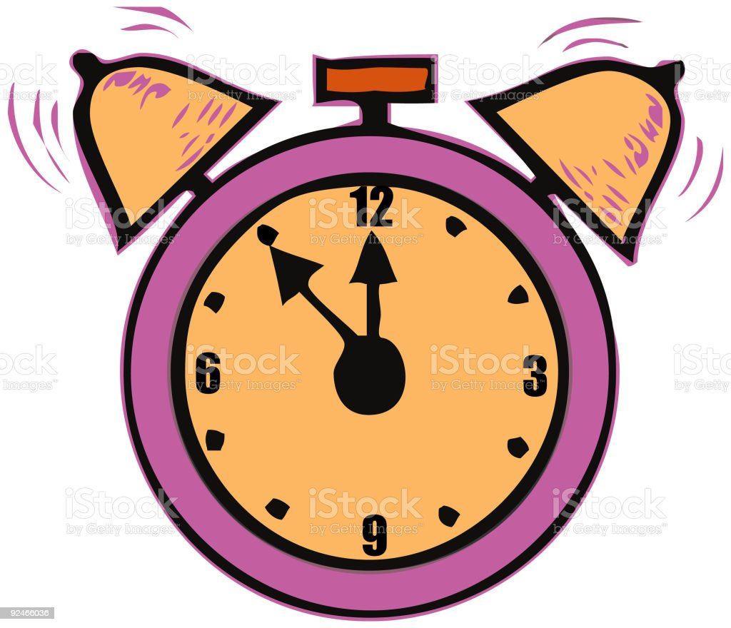 Alarm clock - 5 minutes to midnight time - vector royalty-free stock vector art