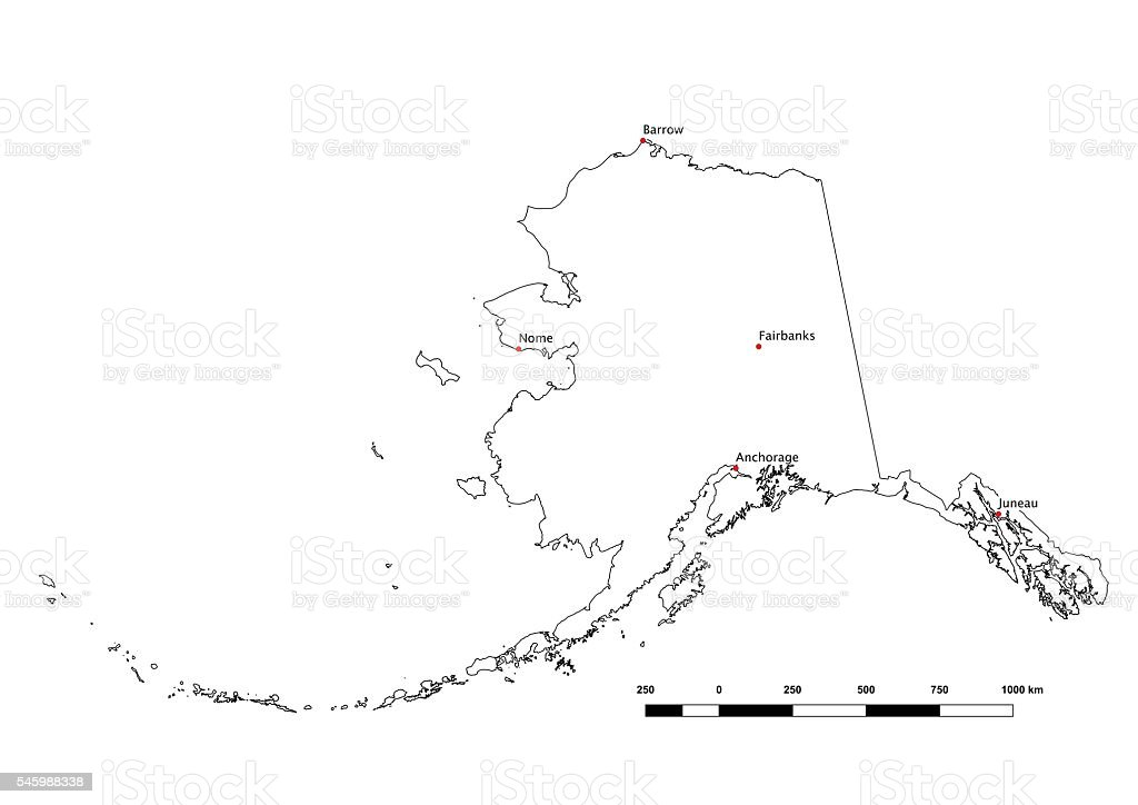 Alaska Black and White State Outline with Major Cities 2015 vector art illustration