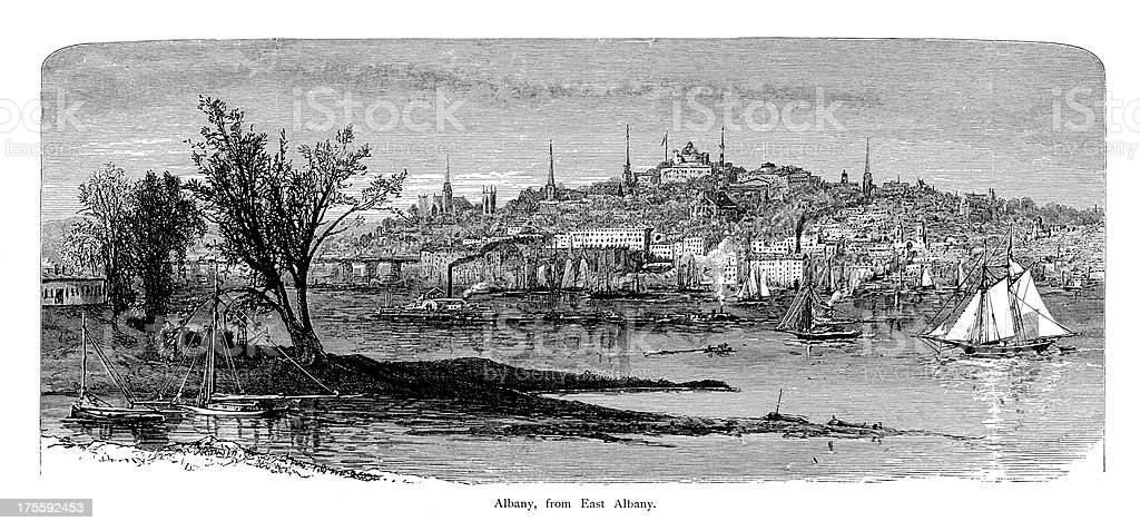 Albany, New York | Historic American Illustrations vector art illustration