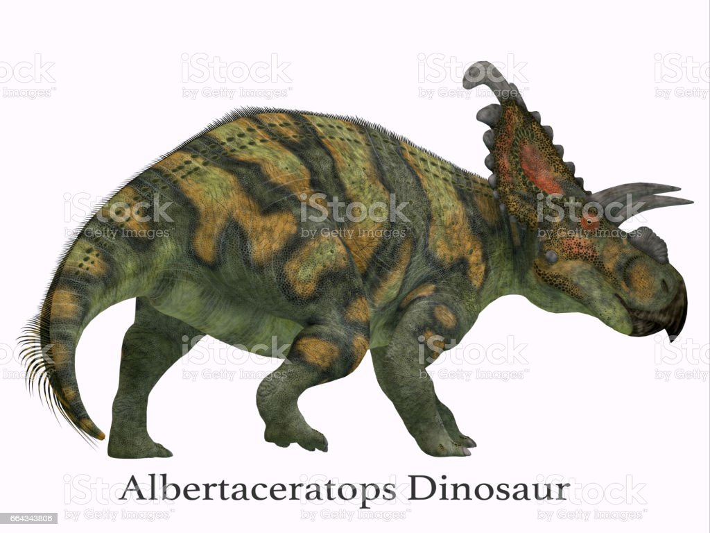 Albertaceratops Dinosaur Tail with Font stock photo