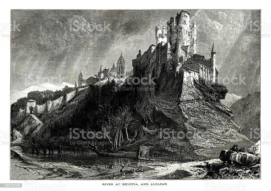 Alcazar of Segovia, Spain | Antique European Illustrations royalty-free stock vector art