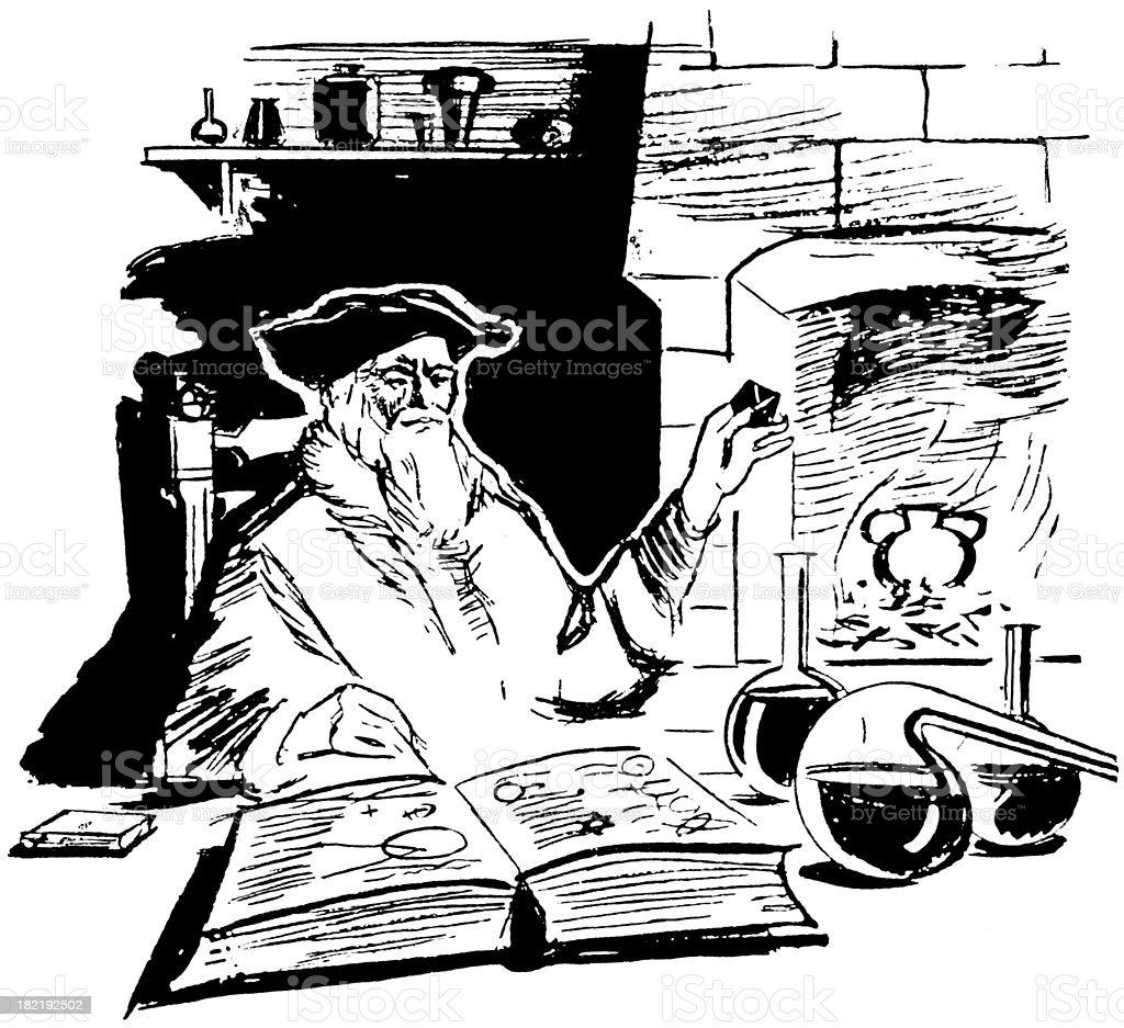 alchemist vector art illustration