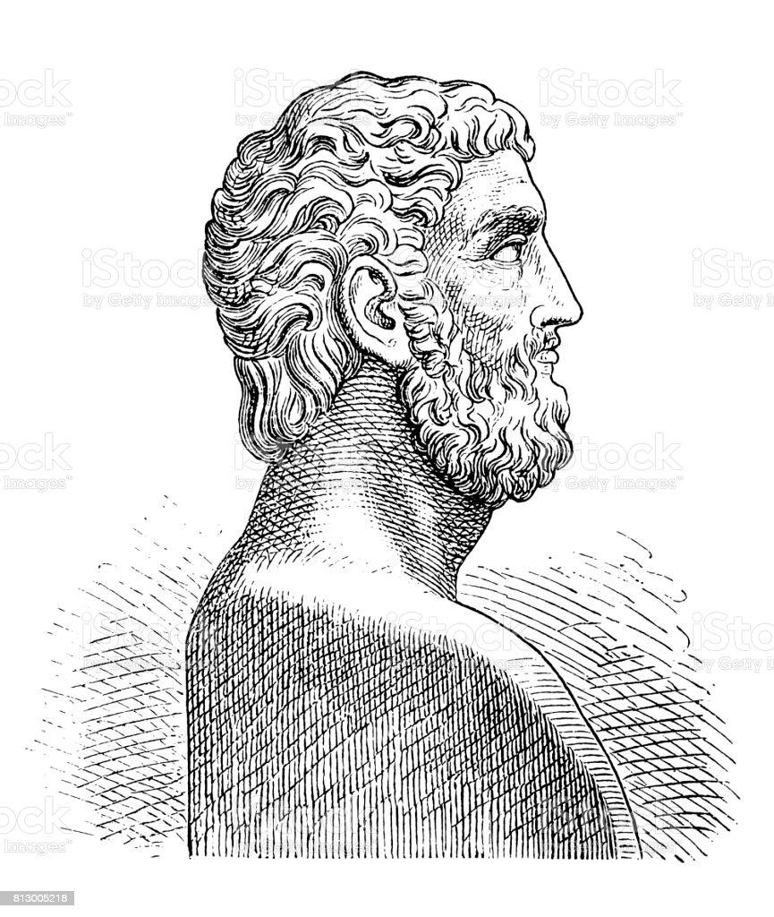 Alcibiades (probably 451-404 BC), Athenian statesman vector art illustration