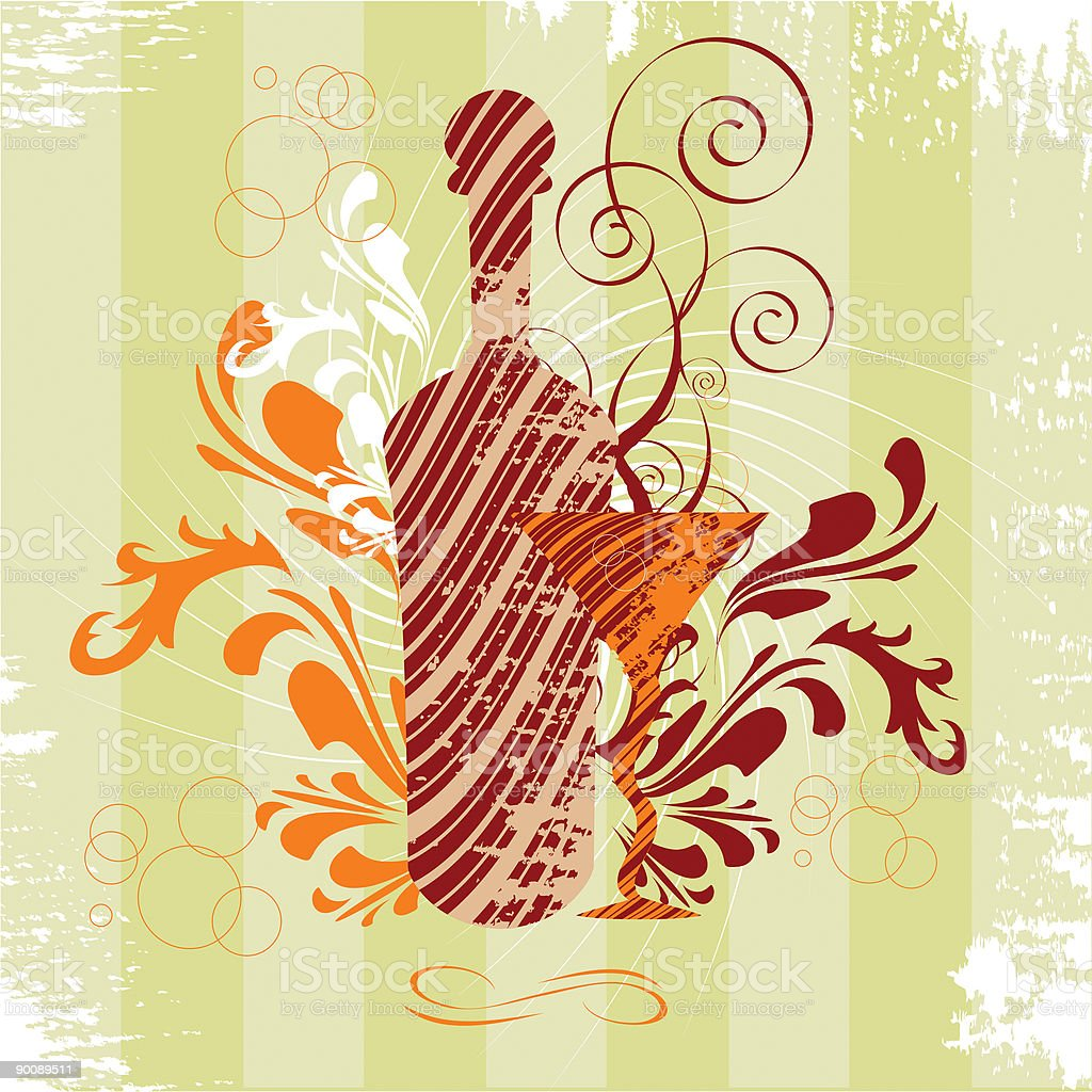 Alcohol Bottle and Fancy Glass. Party paraphernalia vector art illustration