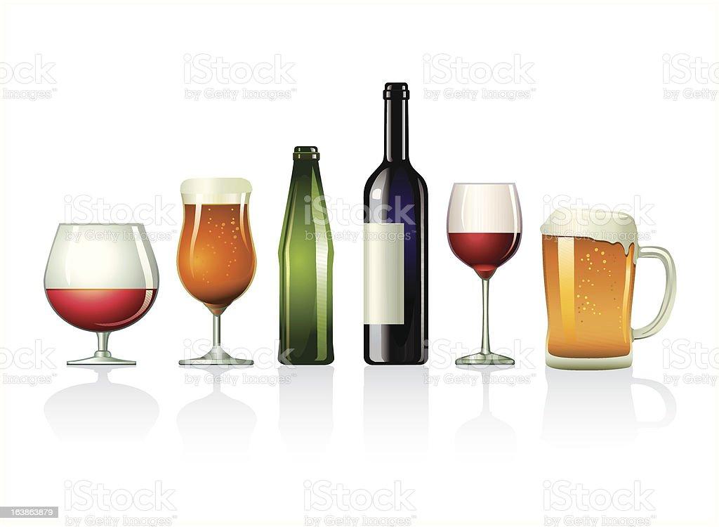 Alcohol drinks vector art illustration