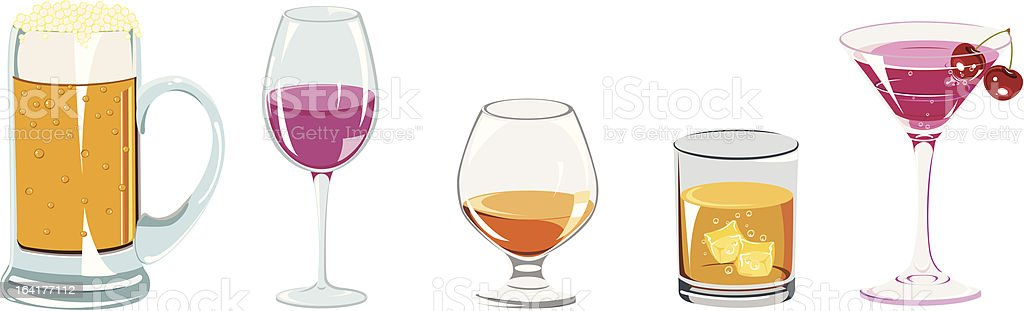 Alcoholic drinks icon set royalty-free stock vector art