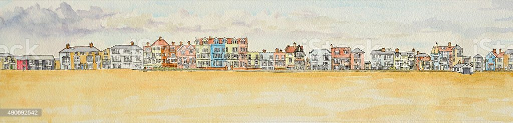 Aldeburgh seafront panorama Ink and Watercolour painting vector art illustration