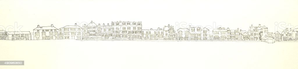 Aldeburgh seafront panorama Ink line drawing vector art illustration