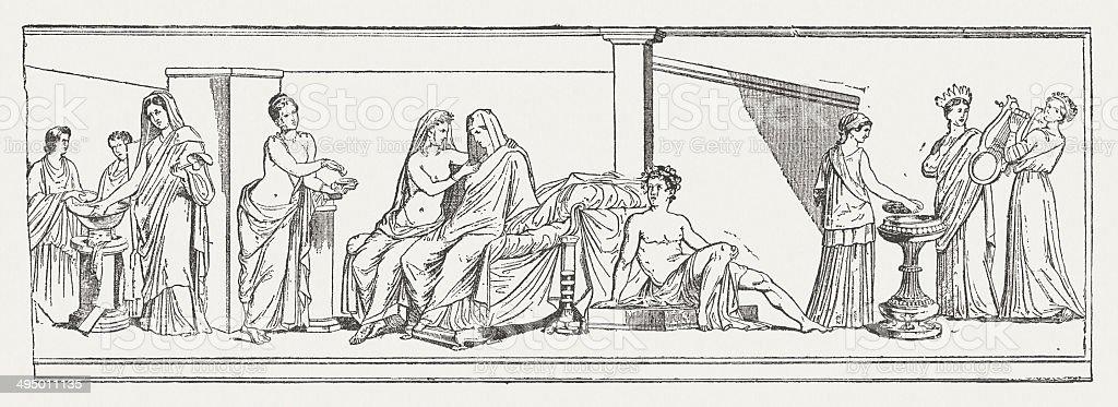 Aldobrandini Wedding, ancient fresco, Vatican Museum, published in 1881 vector art illustration