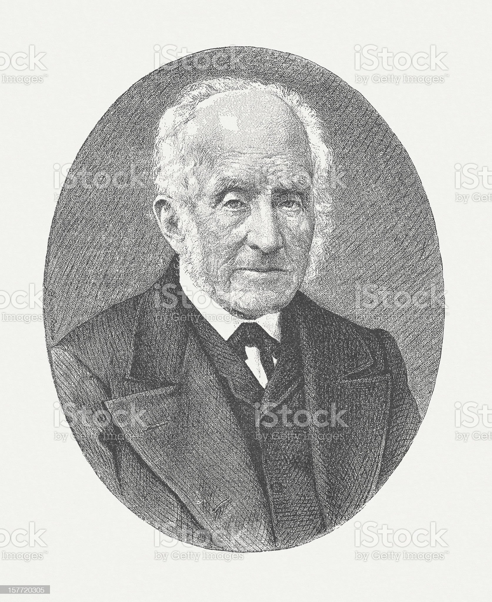 Alessandro Manzoni (1785-1873), wood engraving, published in 1882 royalty-free stock vector art