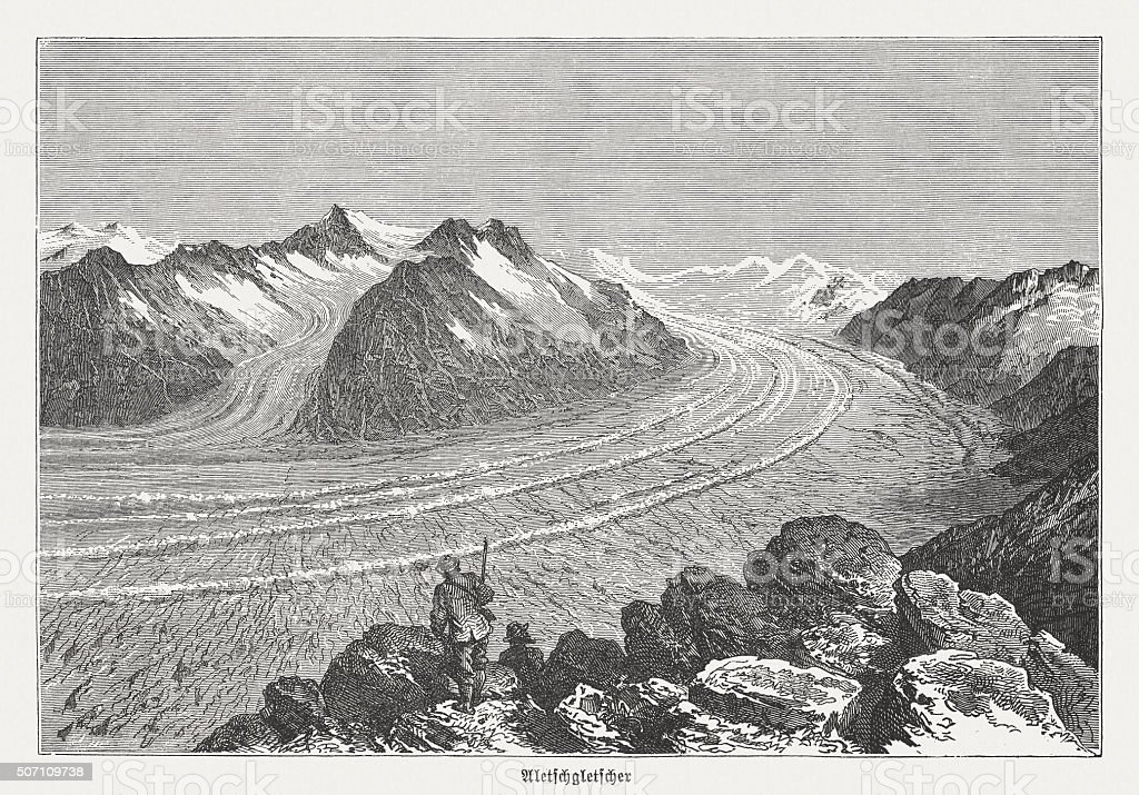 Aletsch Glacier (Switzerland) before over 100 Years, published in 1882 vector art illustration