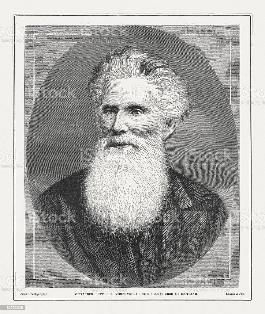 Alexander Duff (1806-1878), Scottish missionary in India, published 1873 vector art illustration