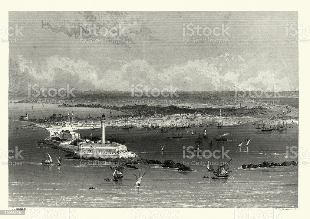 Alexandria, Egypt in the 19th Century vector art illustration