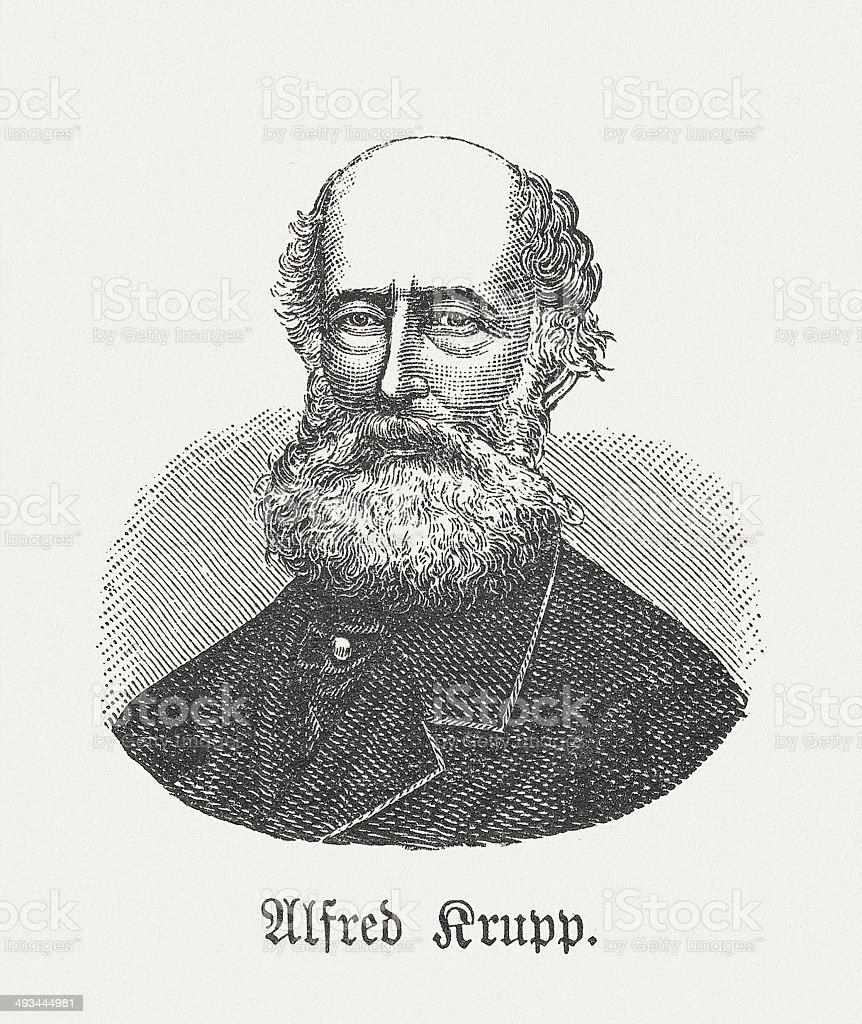 Alfred Krupp (1812-1887), German industrialist, wood engraving, published in 1881 royalty-free stock vector art