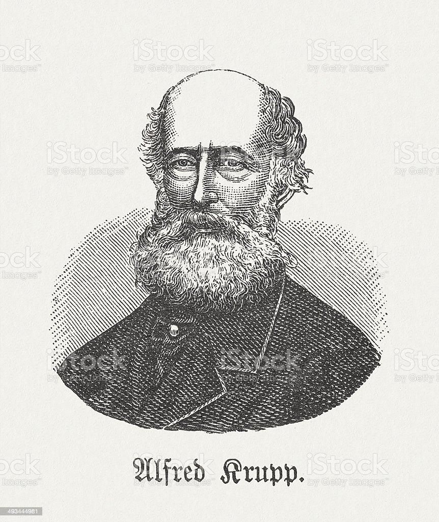 Alfred Krupp (1812-1887), German industrialist, wood engraving, published in 1881 vector art illustration
