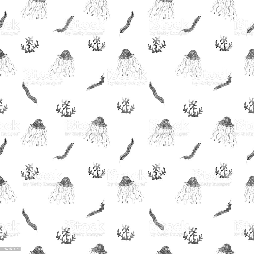 Algae and jellyfishes watercolor seamless pattern in black and white vector art illustration