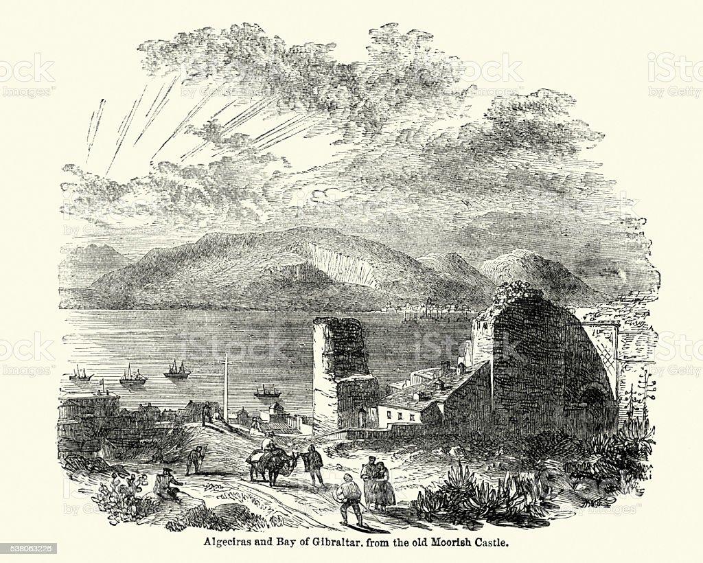 Algeciras and the Bay of Gibraltar vector art illustration