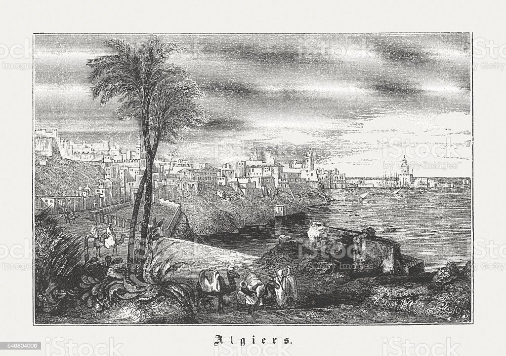 Algiers in the 19th century, wood engraving, published in 1848 vector art illustration