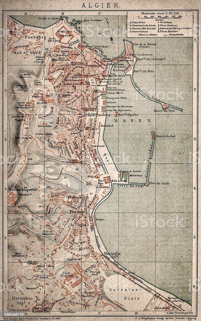 Algiers map vector art illustration