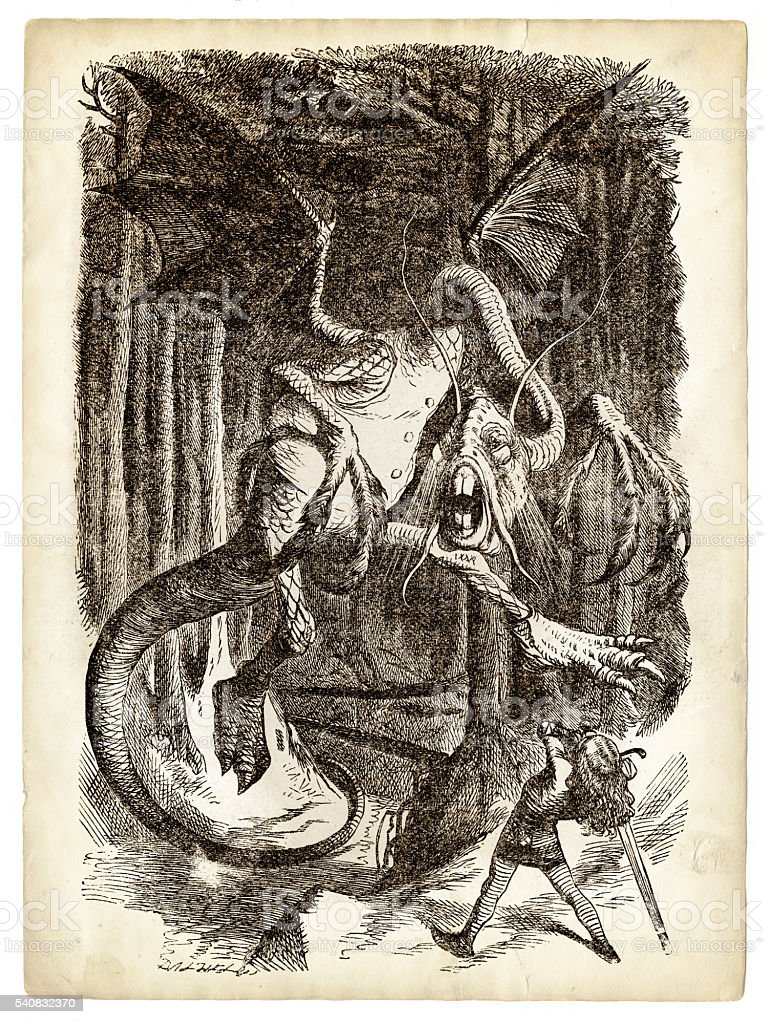Alice and the Jabberwocky Knight engraving 1899 vector art illustration
