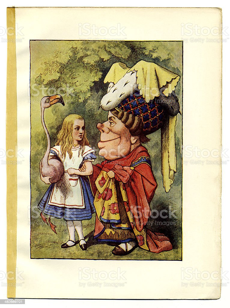 Alice, Duchess and pelican illustration, (Alice's Adventures in Wonderland) royalty-free stock vector art