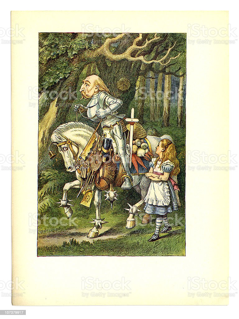 Alice with knight and horse illustration, (Alice's Adventures in Wonderland) vector art illustration