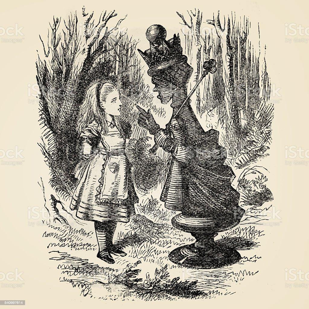 Alice with the Queen engraving 1899 vector art illustration