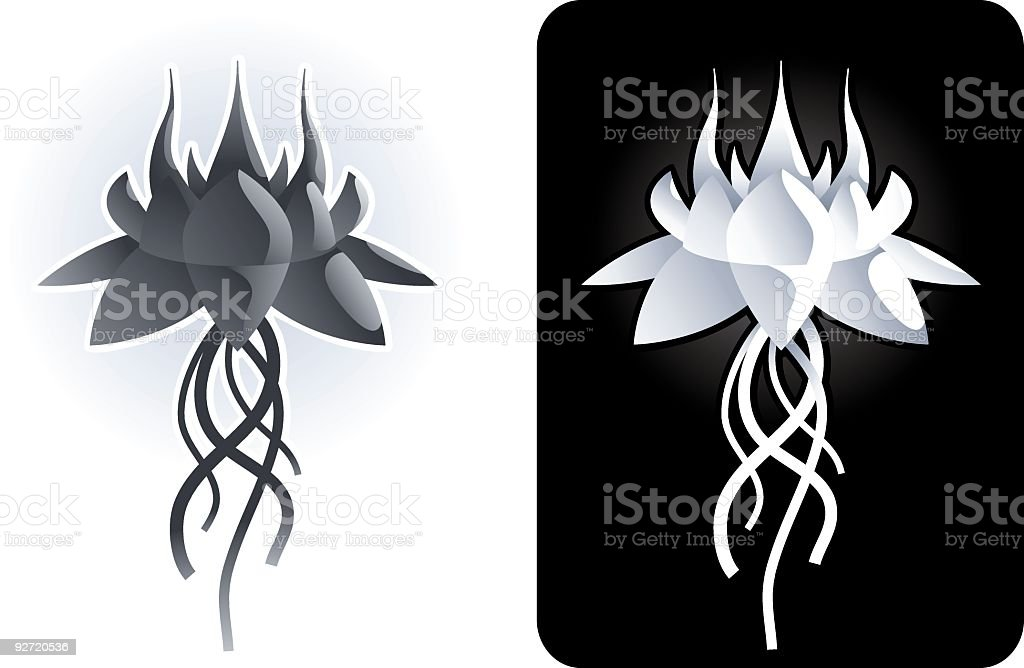 Alien flower element vector art illustration