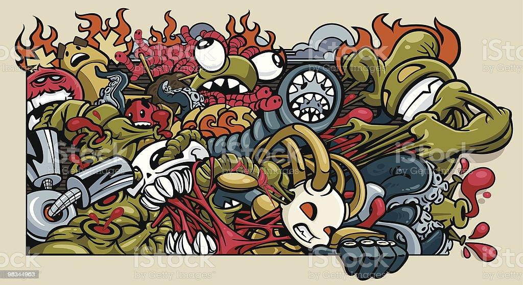 Alien Massacre vector art illustration