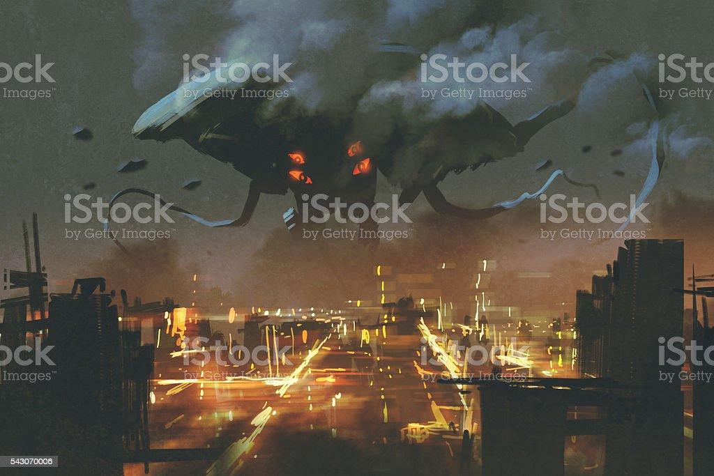 Alien monster invading night city vector art illustration