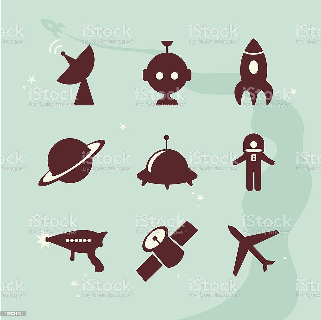aliens vs humans icons royalty-free stock vector art