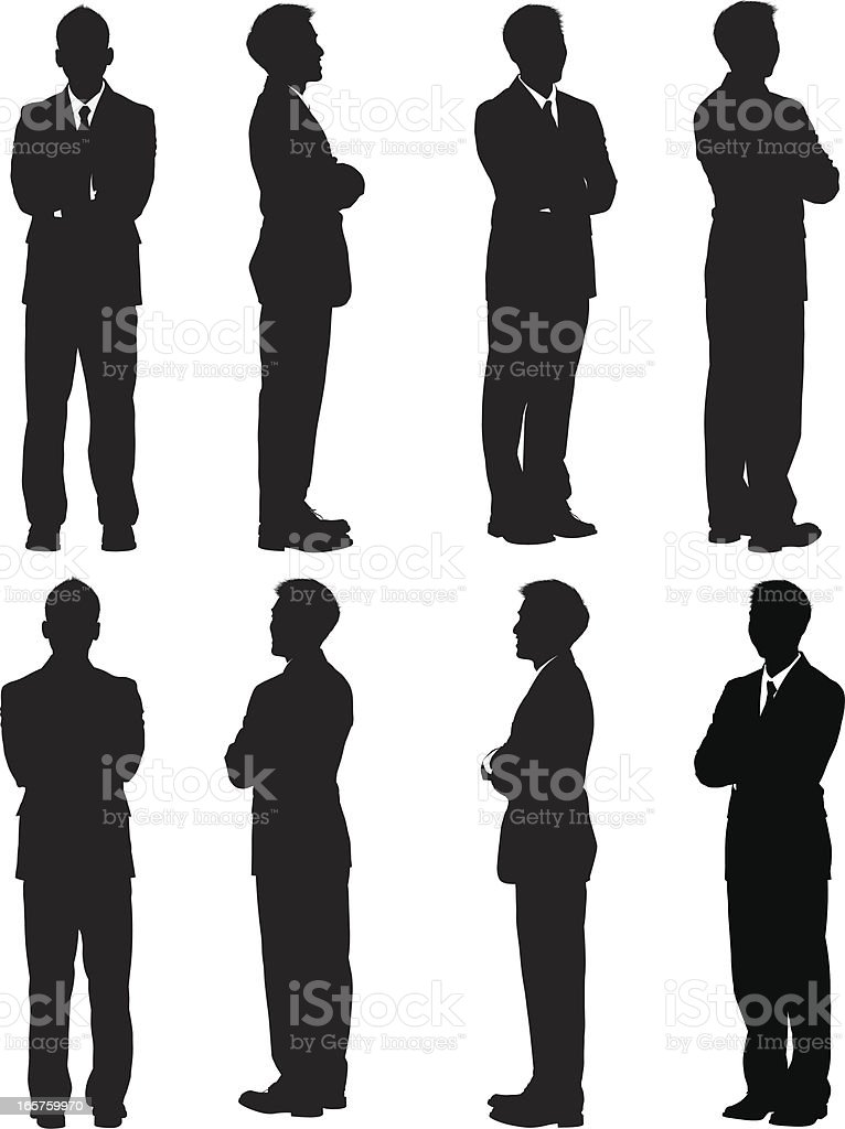 All around view of businessman vector art illustration