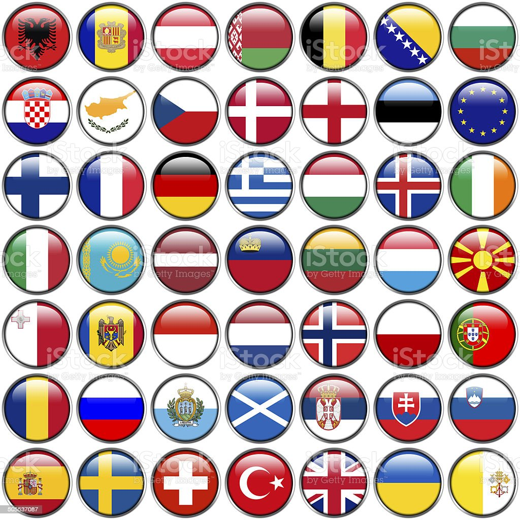 All European Flags - circle glossy buttons. vector art illustration
