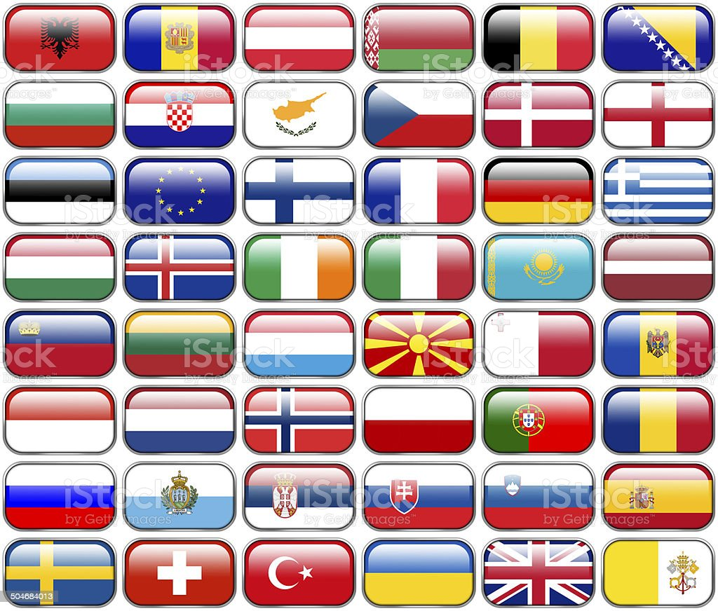 All European Flags - rectangle glossy buttons royalty-free stock vector art
