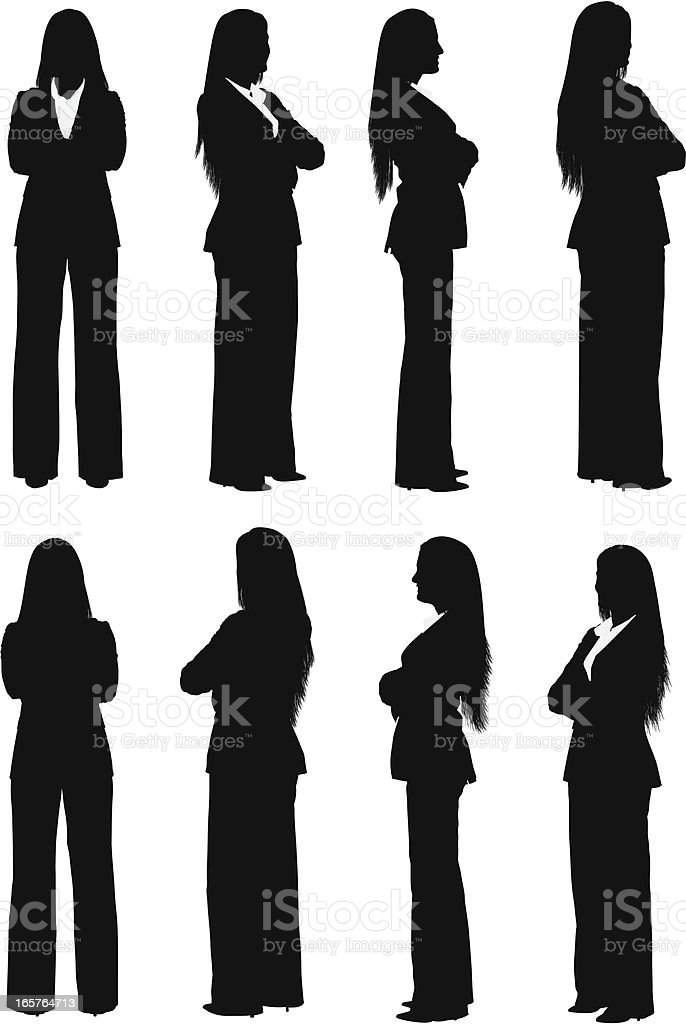 All views of businesswoman turning vector art illustration