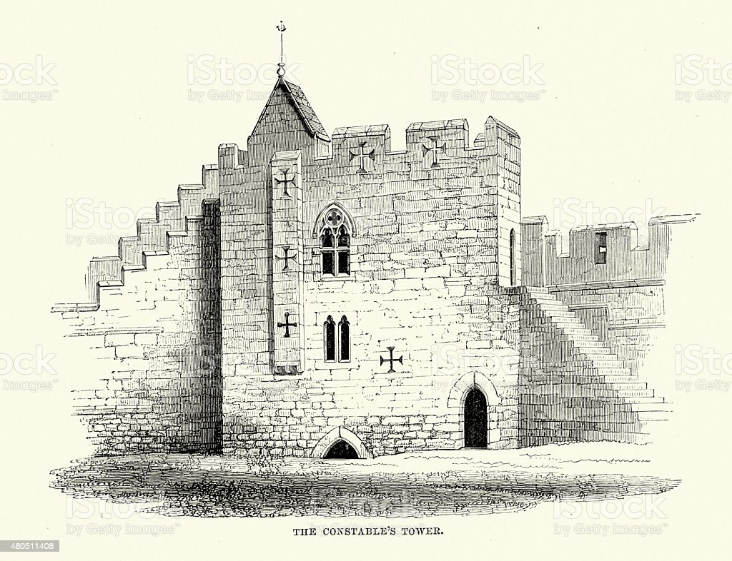 Alnwick Castle - The Constable's Tower vector art illustration