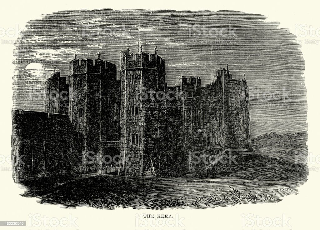 Alnwick Castle - The Keep vector art illustration