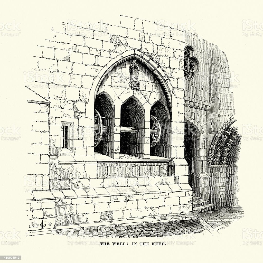 Alnwick Castle - Well in the Keep vector art illustration