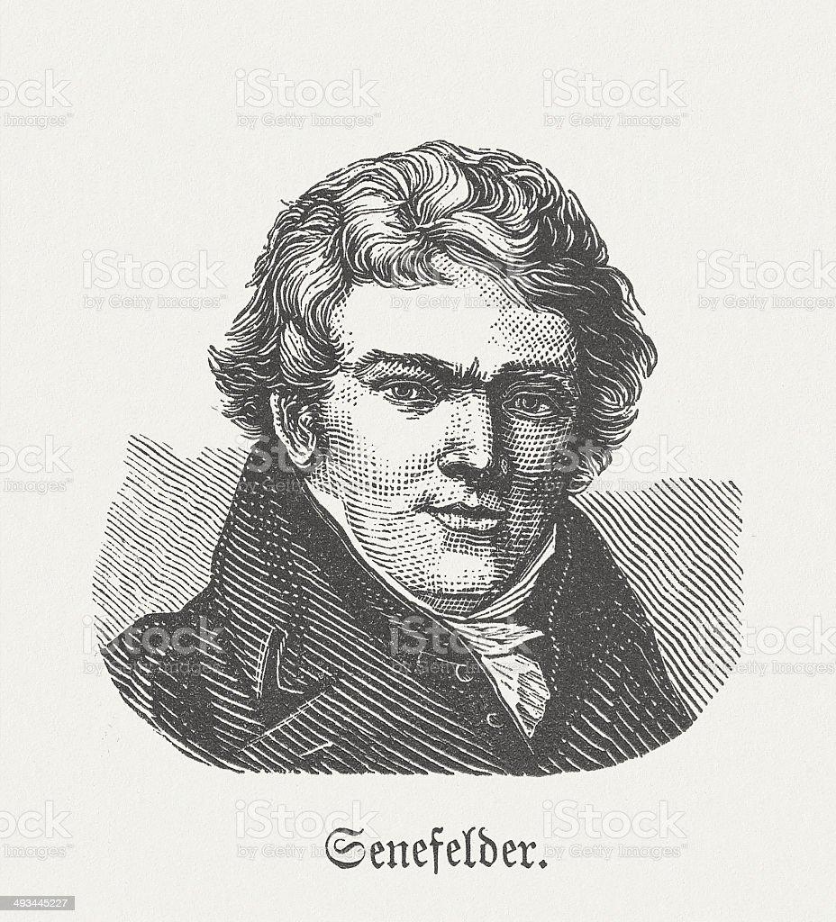Alois Senefelder (1771-1834), German inventor, wood engraving, published in 1881 royalty-free stock vector art