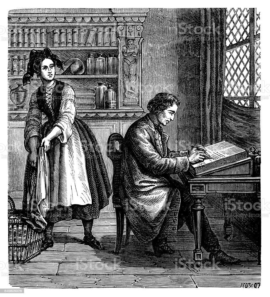 Alois Senefelder writing at his desk vector art illustration