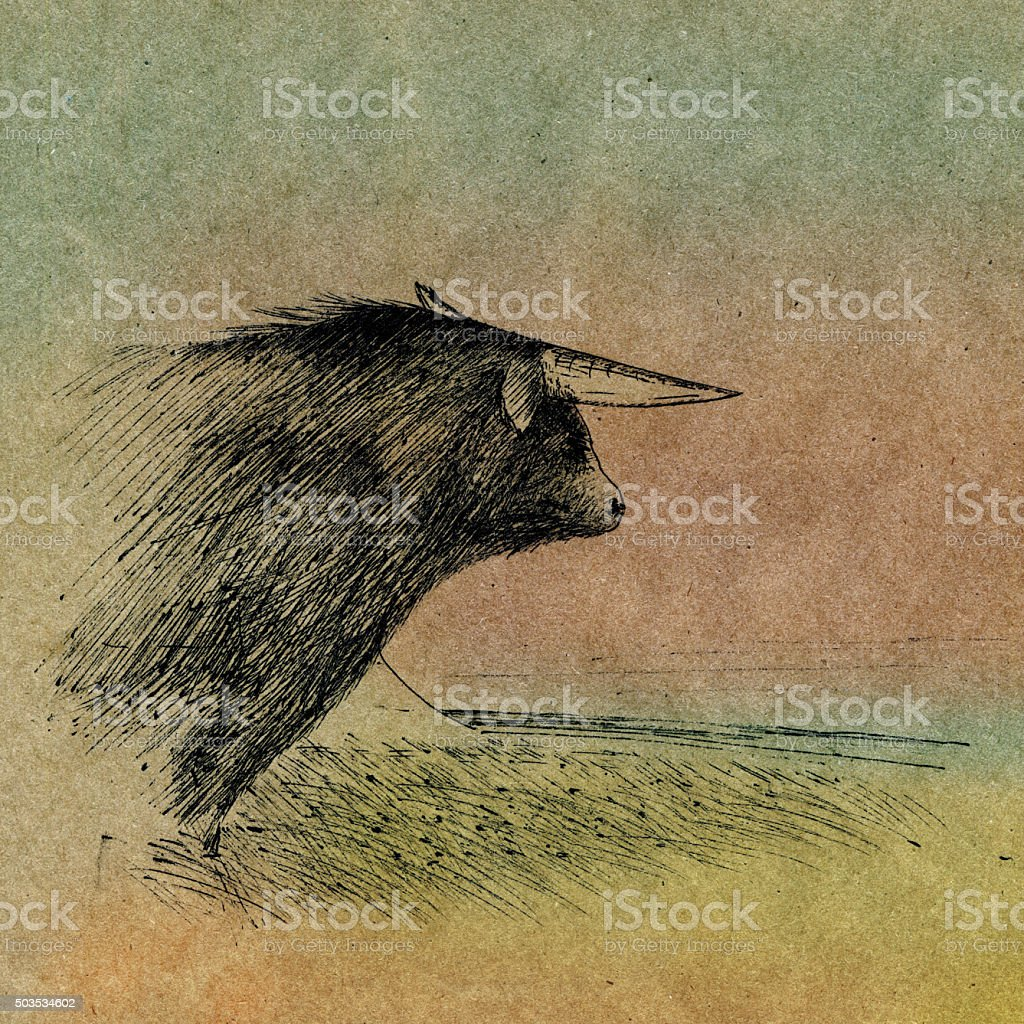 Alone bull in the bleak steppes stock photo