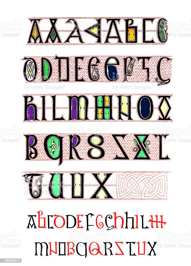 Alphabet dating from the 8th Century vector art illustration