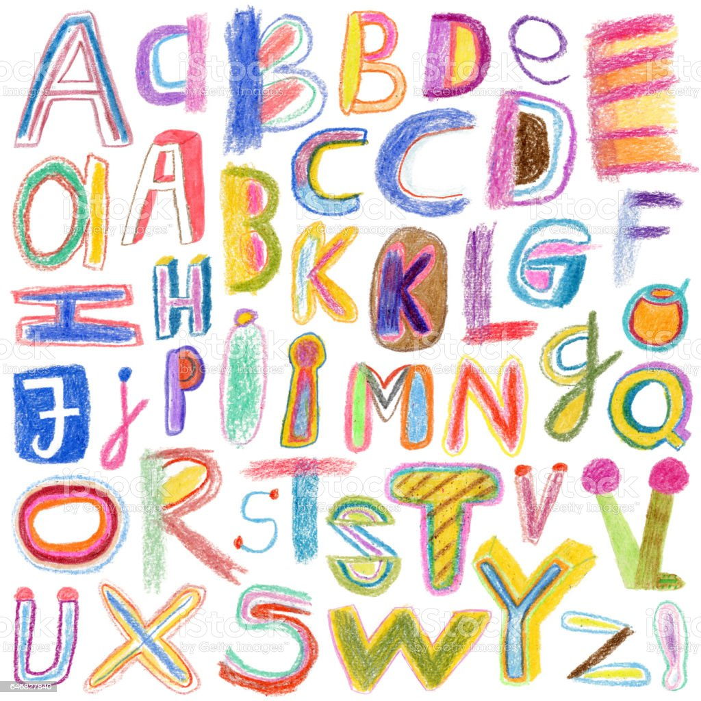 Alphabet drawn with crayons vector art illustration